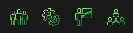 Set line Team leader, Users group, Head hunting and Project team base. Gradient color icons. Vector