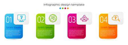 Set line Question mark, Project team base, and . Business infographic template. Vector Ilustrace