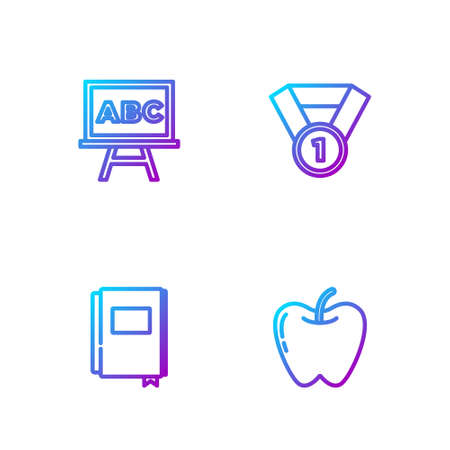 Set line Apple, Book, Chalkboard and Medal. Gradient color icons. Vector