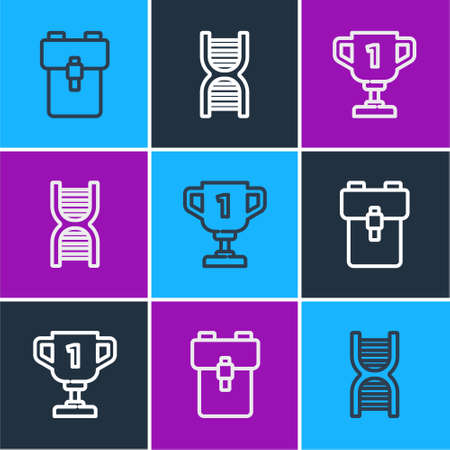 Set line School backpack, Award cup and DNA symbol icon. Vector