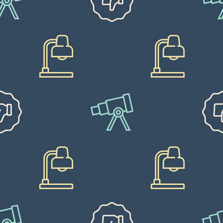 Set line Hand thumb up, Table lamp and Telescope on seamless pattern. Vector