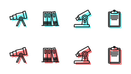 Set line Microscope, Telescope, Office folders and Clipboard with checklist icon. Vector