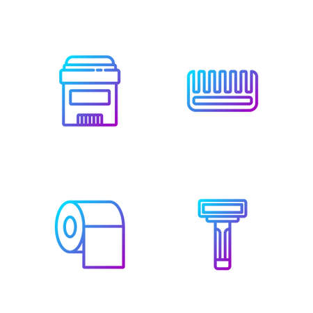 Set line Shaving razor, Toilet paper roll, Antiperspirant deodorant and Hairbrush. Gradient color icons. Vector Ilustrace