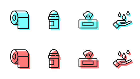 Set line Wet wipe pack, Toilet paper roll, Antiperspirant deodorant and Washing hands with soap icon. Vector Ilustrace