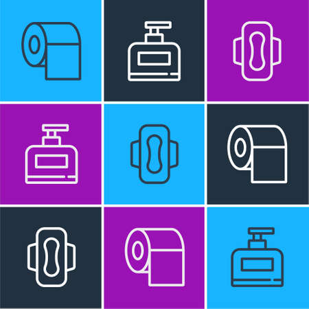 Set line Toilet paper roll, Sanitary napkin and Bottle of shampoo icon. Vector Иллюстрация