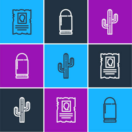 Set line Wanted western poster, Cactus and Bullet icon. Vector 矢量图像