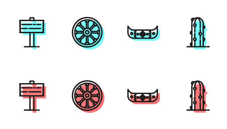 Set line Kayak or canoe and paddle, Road traffic signpost, Old wooden wheel and Cactus icon. Vector  イラスト・ベクター素材