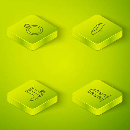 Set Isometric Gold bars, Cowboy boot, Cactus and Canteen water bottle icon. Vector
