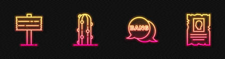 Set line Bang boom, gun Comic, Road traffic signpost, Cactus and Wanted western poster. Glowing neon icon. Vector