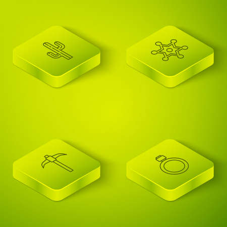 Set Isometric Hexagram sheriff, Pickaxe, Canteen water bottle and Cactus icon. Vector