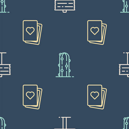 Set line Road traffic signpost, Deck of playing cards and Cactus on seamless pattern. Vector