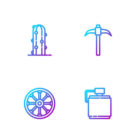 Set line Canteen water bottle, Old wooden wheel, Cactus and Pickaxe. Gradient color icons. Vector