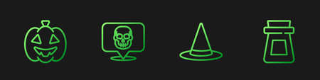 Set line Witch hat, Pumpkin, Skull and Bottle with potion. Gradient color icons. Vector