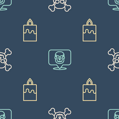Set line Skull on crossbones, Burning candle and on seamless pattern. Vector 向量圖像