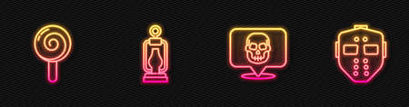 Set line Skull, Lollipop, Camping lantern and Hockey mask. Glowing neon icon. Vector