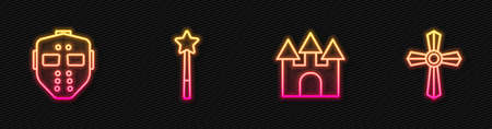 Set line Castle, Hockey mask, Magic wand and Tombstone with cross. Glowing neon icon. Vector