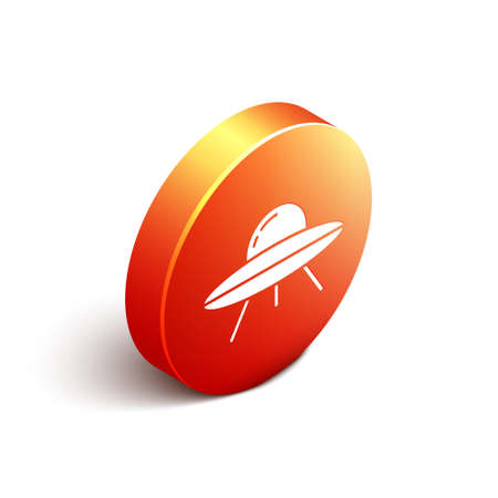 Isometric UFO flying spaceship icon isolated on white background. Flying saucer. Alien space ship. Futuristic unknown flying object. Orange circle button. Vector