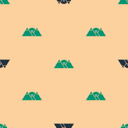 Green and black Mountains icon isolated seamless pattern on beige background. Symbol of victory or success concept. Vector 일러스트