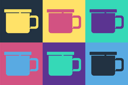 Pop art Camping metal mug icon isolated on color background. Vector