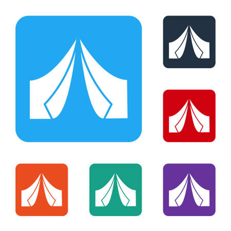 White Tourist tent icon isolated on white background. Camping symbol. Set icons in color square buttons. Vector