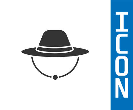Grey Camping hat icon isolated on white background. Beach hat panama. Explorer travelers hat for hunting, hiking, tourism. Vector Illusztráció