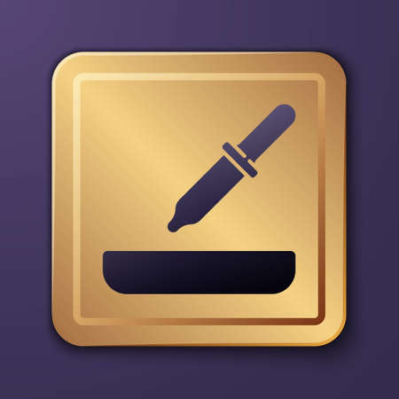 Purple Pipette icon isolated on purple background. Element of medical, cosmetic, chemistry lab equipment. Gold square button. Vector