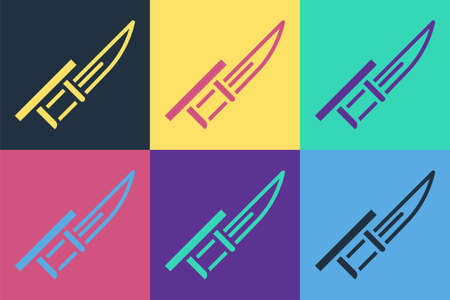 Pop art Bayonet on rifle icon isolated on color background. Vector