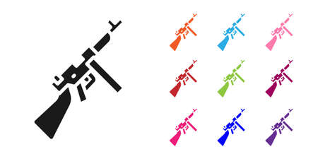 Black Thompson tommy submachine gun icon isolated on white background. American submachine gun. Set icons colorful. Vector