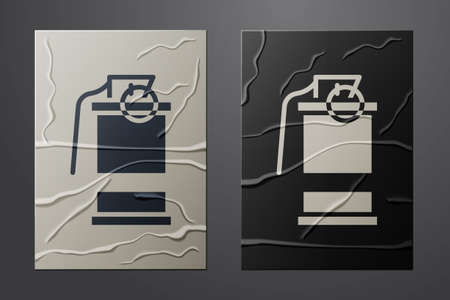 White Hand smoke grenade icon isolated on crumpled paper background. Bomb explosion. Paper art style. Vector