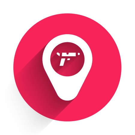 White Location with weapon icon isolated with long shadow. Red circle button. Vector