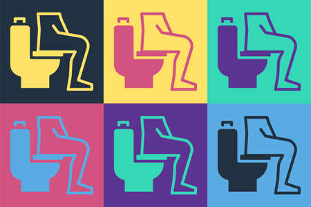Pop art Men sitting on the toilet and Constipation are experiencing severe abdominal pain icon isolated on color background. Vector
