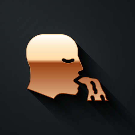Gold Vomiting man icon isolated on black background. Symptom of disease, problem with health. Nausea, food poisoning, alcohol poisoning concept. Long shadow style. Vector Illusztráció