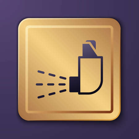 Purple Inhaler icon isolated on purple background. Breather for cough relief, inhalation, allergic patient. Medical allergy asthma inhaler spray. Gold square button. Vector