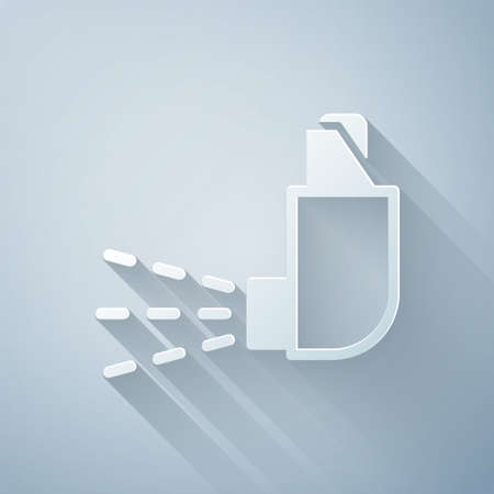 Paper cut Inhaler icon isolated on grey background. Breather for cough relief, inhalation, allergic patient. Medical allergy asthma inhaler spray. Paper art style. Vector