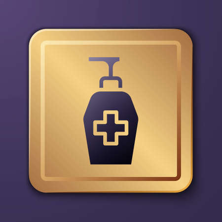 Purple Bottle of liquid antibacterial soap with dispenser icon isolated on purple background. Antiseptic. Disinfection, hygiene, skin care. Gold square button. Vector Ilustrace