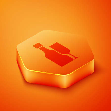 Isometric Wine bottle with glass icon isolated on orange background. Orange hexagon button. Vector