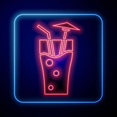 Glowing neon Cocktail and alcohol drink with umbrella icon isolated on blue background. Vector  イラスト・ベクター素材