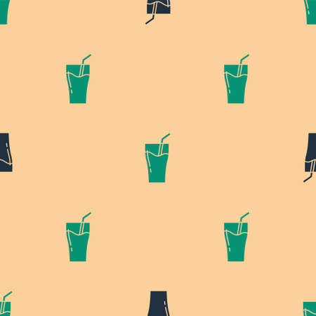 Green and black Glass of juice icon isolated seamless pattern on beige background. Tube for drinking. Healthy organic food. Citrus fruit. Vector