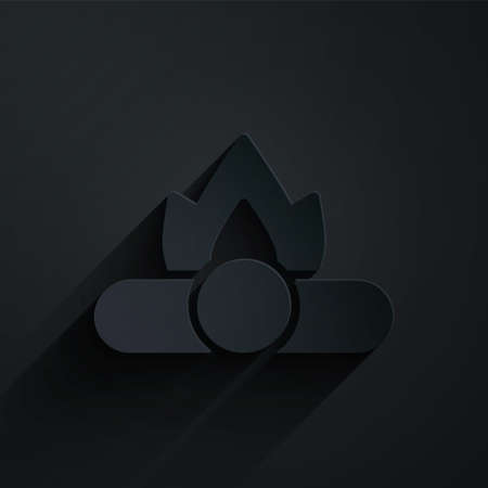 Paper cut Campfire icon isolated on black background. Burning bonfire with wood. Paper art style. Vector
