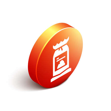 Isometric Barbecue coal bag icon isolated on white background. Orange circle button. Vector Illustration