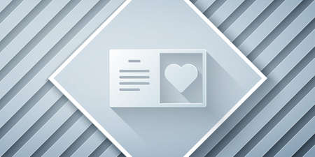 Paper cut Valentines day party flyer icon isolated on grey background. Celebration poster template for invitation or greeting card. Paper art style. Vector