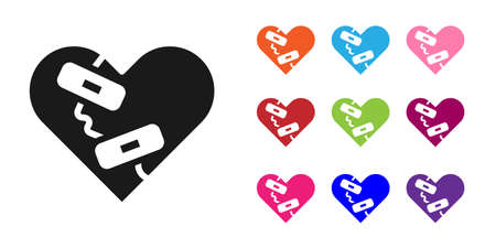 Black Healed broken heart or divorce icon isolated on white background. Shattered and patched heart. Love symbol. Valentines day. Set icons colorful. Vector