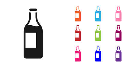 Black Wine bottle icon isolated on white background. Set icons colorful. Vector