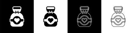 Set Chocolate candy icon isolated on black and white background. Vector 矢量图像