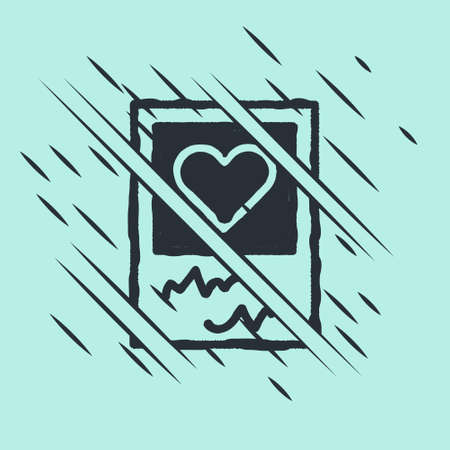 Black Blanks photo frames and hearts icon isolated on green background. Valentines Day symbol. Glitch style. Vector