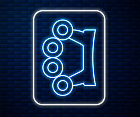 Glowing neon line Brass knuckles icon isolated on brick wall background. Vector