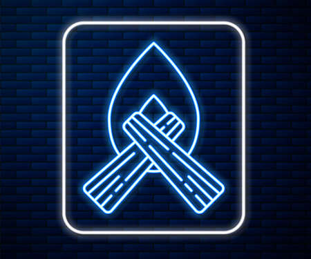 Glowing neon line Campfire icon isolated on brick wall background. Burning bonfire with wood. Vector Illustration