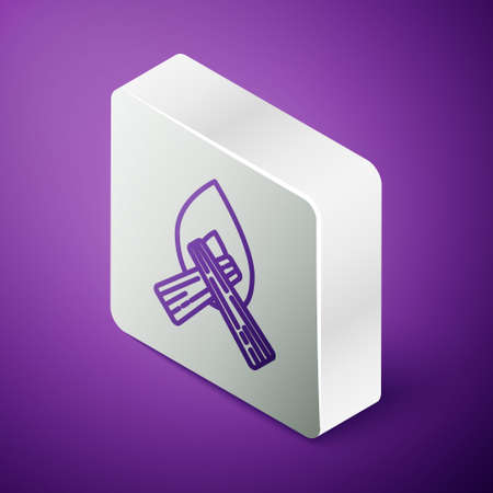 Isometric line Campfire icon isolated on purple background. Burning bonfire with wood. Silver square button. Vector