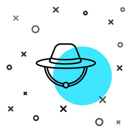 Black line Camping hat icon isolated on white background. Beach hat panama. Explorer travelers hat for hunting, hiking, tourism. Random dynamic shapes. Vector