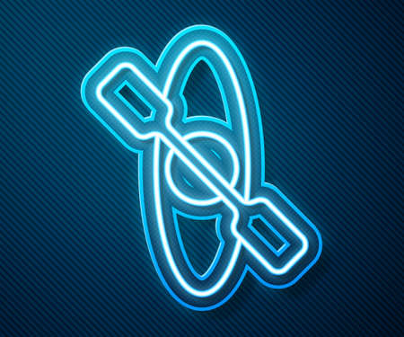 Glowing neon line Kayak and paddle icon isolated on blue background. Kayak and canoe for fishing and tourism. Outdoor activities. Vector